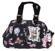Clover Two Front Pocket Hand Bag - Black Hard Style Tattoo
