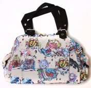 Clover One Front Pocket Hand Bag - Beige Hard Tattoo Style