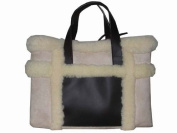 Suede and Fleece Tote Beige Bag Handbag Purse