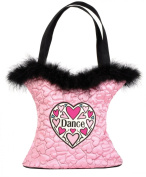 Danshuz Girls Pink Hearts Dance Tote Bag Feather Trim Accessory