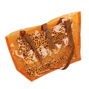 [Lucky Orange] Leopard Double Handle Leatherette Satchel Bag Handbag Purse Casual Styling