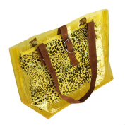 [Lucky Yellow] Leopard Double Handle Leatherette Satchel Bag Handbag Purse Casual Styling