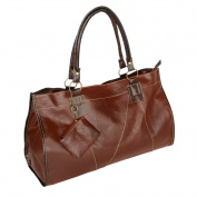 [Generous Casual] Tan Double Handle Leatherette Satchel Hobo Handbag w/Shoulder Strap