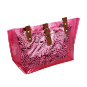 [Lucky Pink] Leopard Double Handle Leatherette Satchel Bag Handbag Purse Casual Styling