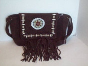 Suede Leather Native American Handbag Dark Brown