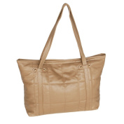 [Lasting Charm . Khaki Double Handle Leatherette Satchel Bag Handbag Purse