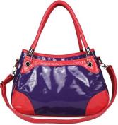 Womens Purple Pink Patent Designer Grab Handbag