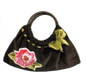 Maggi B Soft Touch Velour Black & Rose Appliqué Clutch Bag