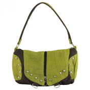 Earth Divas MH-133-GRB Hemp Double Flaps Stud Stylish Women's Shoulder Handbag, Green and Brown