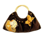 Maggi B Soft Touch Velour Brown Paisley Appliqué Clutch Bag