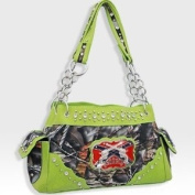 Lime Green Camo Camouflage Handbag Western Pistol Gun Redneck Fashion Purse