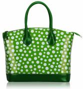 Ladies Green White Patent Polka Dot Designer Fashion Handbag Tote - KCMODE