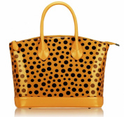 Ladies Yellow Black Patent Polka Dot Designer Fashion Handbag Tote - KCMODE