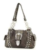 Black Western Rhinestone Buckle Crocodile Handbag