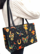 US HANDMADE FASHION Skulls Tattoos Day Of The Dead Rockabilly Halloween Gothic Handmade handbag purse Alexander Henry fabrics, BX 1151