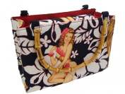 US HANDMADE FASHION Aloha pin up girl calendar girl 50's Hawaiian tropical pattern USA Handmade handbag purse with bamboo handle Alexander Henry Cotton fabrics, BX BAMBOO4262-1