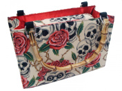 US HANDMADE FASHION Skulls Rose Tattoo Day of the Dead Rockabilly USA Handmade handbag purse with bamboo handle Alexander Henry fabrics, BX BAMBOO1004