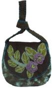 Turquoise Felt Saddle Bag with Flowers