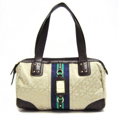 ... Handbag in Beige; Green and Navy Blue Stripe (TH HANDBAGS, PURSES
