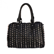 Speedy Medium Satchel Silver Studded Spikes Skeletons Pop Culture Punk Black