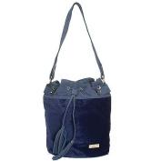 Aryana Chic Navy Blue Drawstring Bucket Style Zip Closure Womens Purse