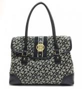 Tommy Hilfiger Flap Satchel Handbag Purse Black Multi