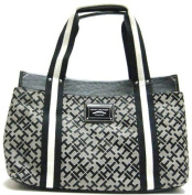 Tommy Hilfiger Medium Black Alpaca Iconic Tote Handbag Purse