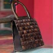 Coconut shell handbag, 'Modern Autumn'