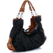 Maselle Black Italian Leather Tote Handbag
