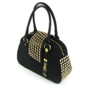 Christian Audigier Womens Gwen Studded Bowler Hanbag Black Purse