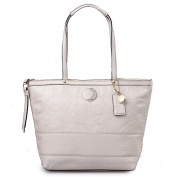 Coach Signature Stitch Stripe Patent Leather Tote Bag 19198 Ivory White