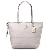 Coach Signature Stitch Stripe Patent Leather Tote Bag 19198 Ivory White