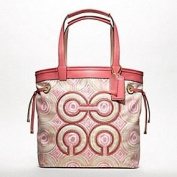 Coach Audrey Op Art Swirl Leigh Slim Tie Tote Bag 17044 Pink Khaki Multi