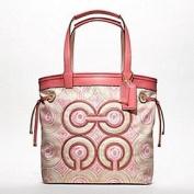 Coach Audrey Op Art Swirl Leigh Slim Tie Tote Bag 17044 Pink Khaki Multi