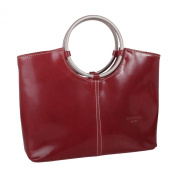 Italian Leather Handbag with Metal Handles in Red by Barberini