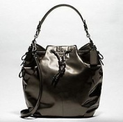 Coach Madison Patent Leather Marielle Drawstring Bag Purse 18820 Pewter