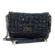 Coach Chelsea Blue Tweed Boucle Medium Flap Bag Purse 17837 Blue