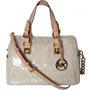 MICHAEL Michael Kors MK Signature Grayson Medium Chain Satchel - Vanilla