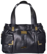 Michael Kors Black Leather Beverly Large Drawstring Satchel Tote Bag Handbag Purse