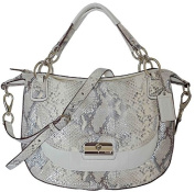 Coach Kristin Leather Embossed Python Round Satchel 19325 Silver/Parchment