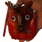 Handmade Leather Wristlet Purse, a Brown Donkey Face on the Cover, Zipper Closure.