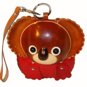 Handmade Leather Wristlet Purse, a Brown Boy Koala Bear Face on the Cover, Zipper Closure.
