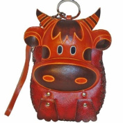 The Unique Design, Genuine Leather Wristlet Change Purse, a Cow Pattern Design