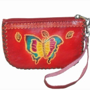 Designer Wristlet Leather Purse, Butterfly & Flower