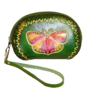 Designer Genuine Leather Wristlet Purse, Green Base with Butterfly and Flower Pattern