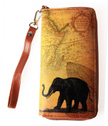 Lavishy Vintage Map Elephant Wallet With Wrist Strap