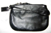 COACH Leather Small Wristlet - BLACK #45651