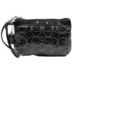 Coach Signature Stripe Stitch Patent Wristlet - Medium - Silver / Black