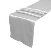 OurWarm Grey Dark Silver Satin Table Runner 30.5cm x 274.3cm (Inch) Wedding Party Table Decoration