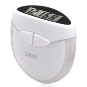 Daffodil HPC907W Multi-function Pedometer - Step Counter that uses Personal Weight and Stride Length to Calculate Calories Burnt - With Digital Clock - White